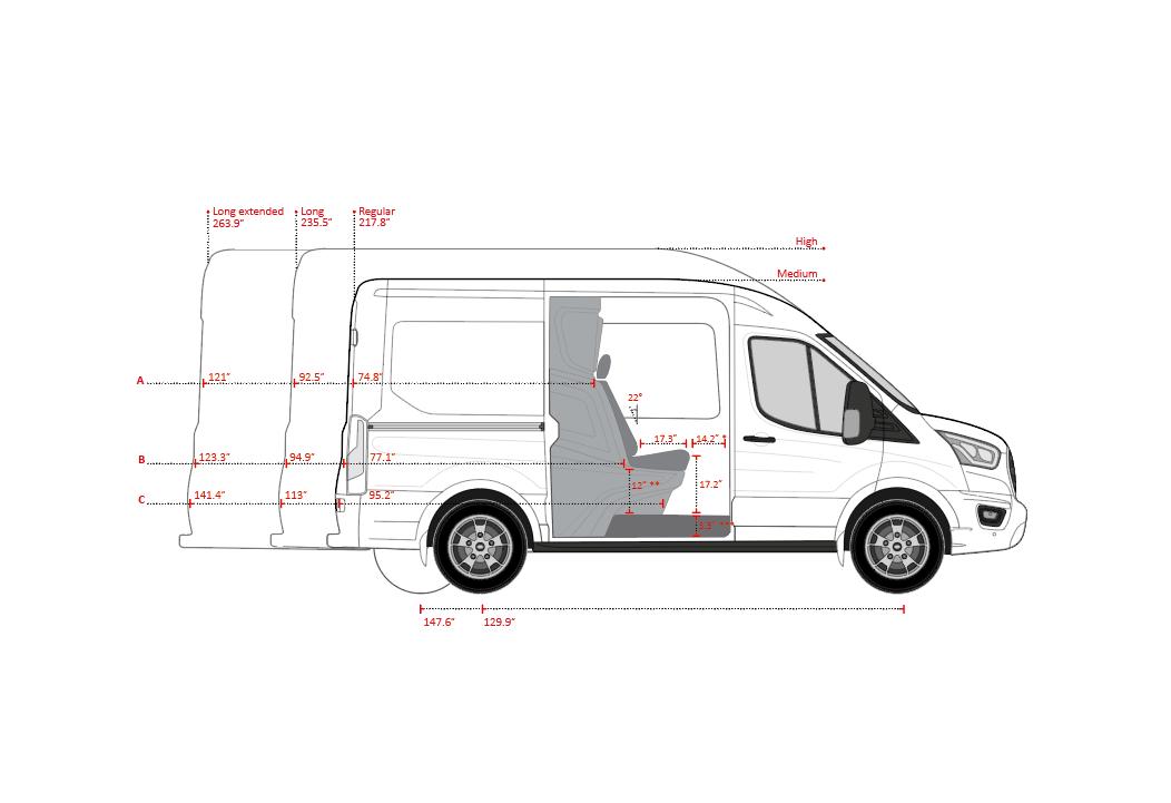 Dimensions Ford Transit Crew Van by Snoeks Automotive